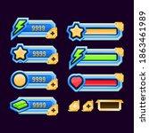 set of golden diamond game ui... | Shutterstock .eps vector #1863461989