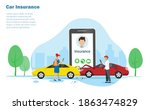 car accident  crashed on the...   Shutterstock .eps vector #1863474829