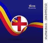 artistic wavy flag for herm... | Shutterstock .eps vector #1863490210