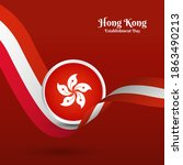 artistic wavy flag for hong... | Shutterstock .eps vector #1863490213