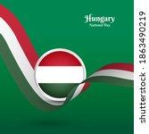 artistic wavy flag for hungary... | Shutterstock .eps vector #1863490219