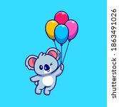 cute koala floating with... | Shutterstock .eps vector #1863491026