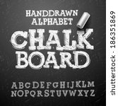chalk hand drawing alphabet ... | Shutterstock .eps vector #186351869