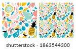 vector set of abstract seamless ...   Shutterstock .eps vector #1863544300