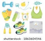 vector set of fitness elements... | Shutterstock .eps vector #1863604546