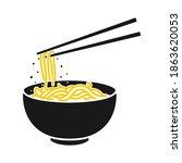 noodle ramen logo vector... | Shutterstock .eps vector #1863620053