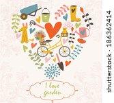 garden vector set with bicycle  ... | Shutterstock .eps vector #186362414