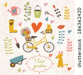 Garden Vector Set With Bicycle...