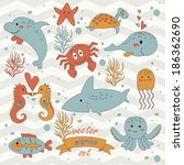 marine vector set with cute... | Shutterstock .eps vector #186362690