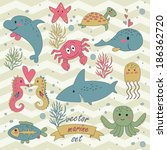 marine vector set with cute... | Shutterstock .eps vector #186362720