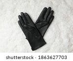 Stylish Black Leather Gloves On ...