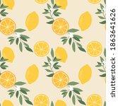 a lemon pattern in beige color... | Shutterstock .eps vector #1863641626