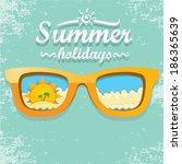 orange sunglasses with tropical ... | Shutterstock .eps vector #186365639