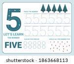 number five tracing practice... | Shutterstock . vector #1863668113