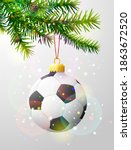 christmas tree branch with... | Shutterstock .eps vector #1863672520