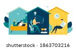 group of people working from... | Shutterstock .eps vector #1863703216