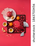flat lay chinese new year drink ...   Shutterstock . vector #1863703456