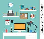 vector flat office workstation | Shutterstock .eps vector #186370820