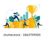 man climbs coin graph  struggle ... | Shutterstock .eps vector #1863709000