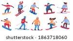 skier and snowboarder. cartoon...   Shutterstock .eps vector #1863718060