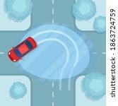 the car skidded at a crossroads ...   Shutterstock .eps vector #1863724759