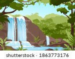 waterfall jungle landscape... | Shutterstock .eps vector #1863773176