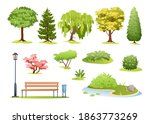forest and park trees vector... | Shutterstock .eps vector #1863773269
