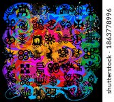 african adinkra pattern  ... | Shutterstock .eps vector #1863778996