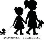 big sister and little sister...   Shutterstock .eps vector #1863832153