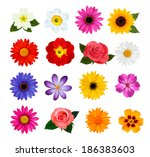 big collection of colorful... | Shutterstock . vector #186383603