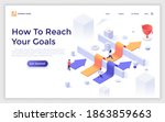 landing page template with men... | Shutterstock .eps vector #1863859663