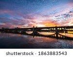 Sunset over the Mill Street Bridge and Tempe Town Lake in Tempe near Phoenix, Arizona