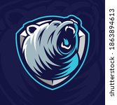 bear mascot design on blue... | Shutterstock .eps vector #1863894613
