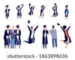 children graduates. happy... | Shutterstock .eps vector #1863898636