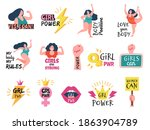 girls badges. feminist tags... | Shutterstock .eps vector #1863904789