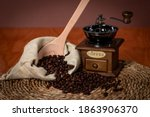 Coffee Beans With Grinder And...