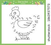 dot to dot drawing a chicken....   Shutterstock .eps vector #1863937573