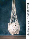 Small photo of Trapped piggy bank in net. Avoid debt traps and speculation. Savings and retirement financial scams