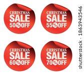 christmas sale stickers set 50  ... | Shutterstock .eps vector #1863943546