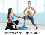 exercising with fitness ball.... | Shutterstock . vector #186405824
