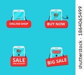 set smartphone online shop.... | Shutterstock .eps vector #1864065499
