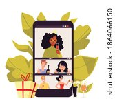 online party in video chat with ... | Shutterstock .eps vector #1864066150