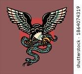 eagle tattoo illustration... | Shutterstock .eps vector #1864074319