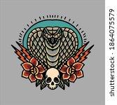 cobra and roses tattoo vector... | Shutterstock .eps vector #1864075579