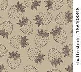retro strawberries seamless... | Shutterstock .eps vector #186408848