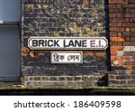 an old brick lane sign in london | Shutterstock . vector #186409598