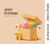 merry christmas and happy new...   Shutterstock .eps vector #1864135606