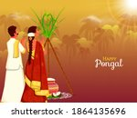 south indian couple doing surya ...   Shutterstock .eps vector #1864135696