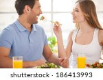 try my meal  beautiful young... | Shutterstock . vector #186413993