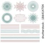 set of guilloche decorative... | Shutterstock .eps vector #186414704